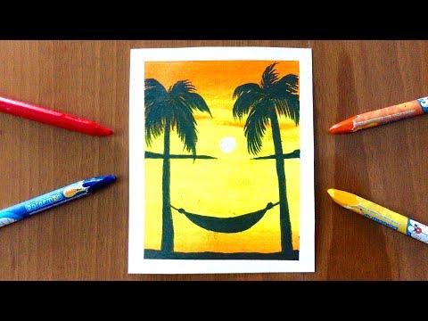 Vẽ tranh phong cảnh biển hoàng hôn bằng MÀU SÁP DẦU   how to draw sunset scenery with oil pastel