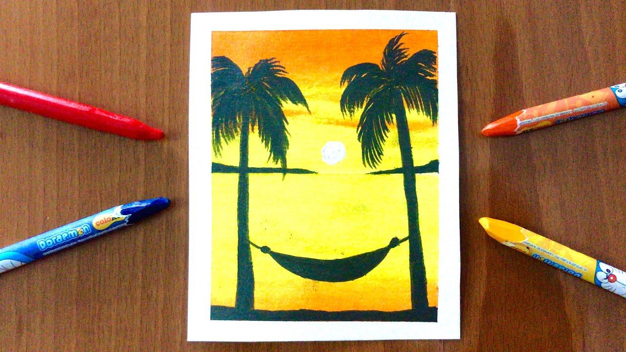 Vẽ tranh phong cảnh biển hoàng hôn bằng MÀU SÁP DẦU   how to draw sunset scenery with oil pastel   Tổng quát các thông tin về tranh phong cảnh biển mới cập nhật