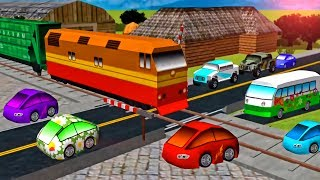 Cars & Trains - Game Cartoon for KIDS | Car Driving for Kids Local Train - Train Videos for Children