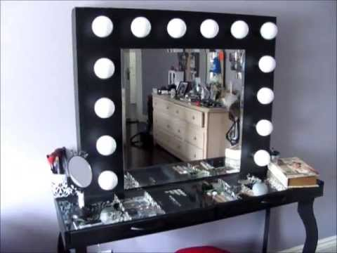 Vanity Table With Lighted Mirror Diy : DIY Hollywood-Style Vanity: Mini Tour & What I Used to Build it - YouTube