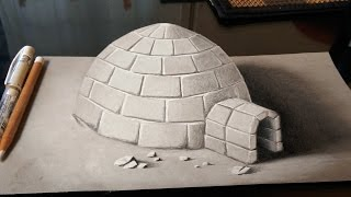 Drawing a 3D Igloo - Anamorphic Drawing on Paper