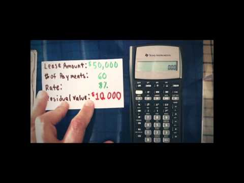 Payment Of A Regular Lease With A Residual Value (BA II Plus, HB - lease payment calculator