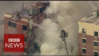 Aerial footage shows New York City building collapse - BBC News