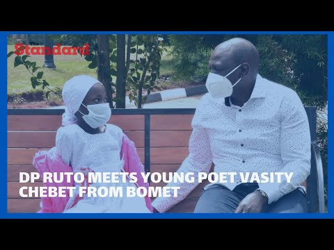 Dp Ruto meets young poet Vasity Chebet from Bomet, who established a chicken farm for her parents