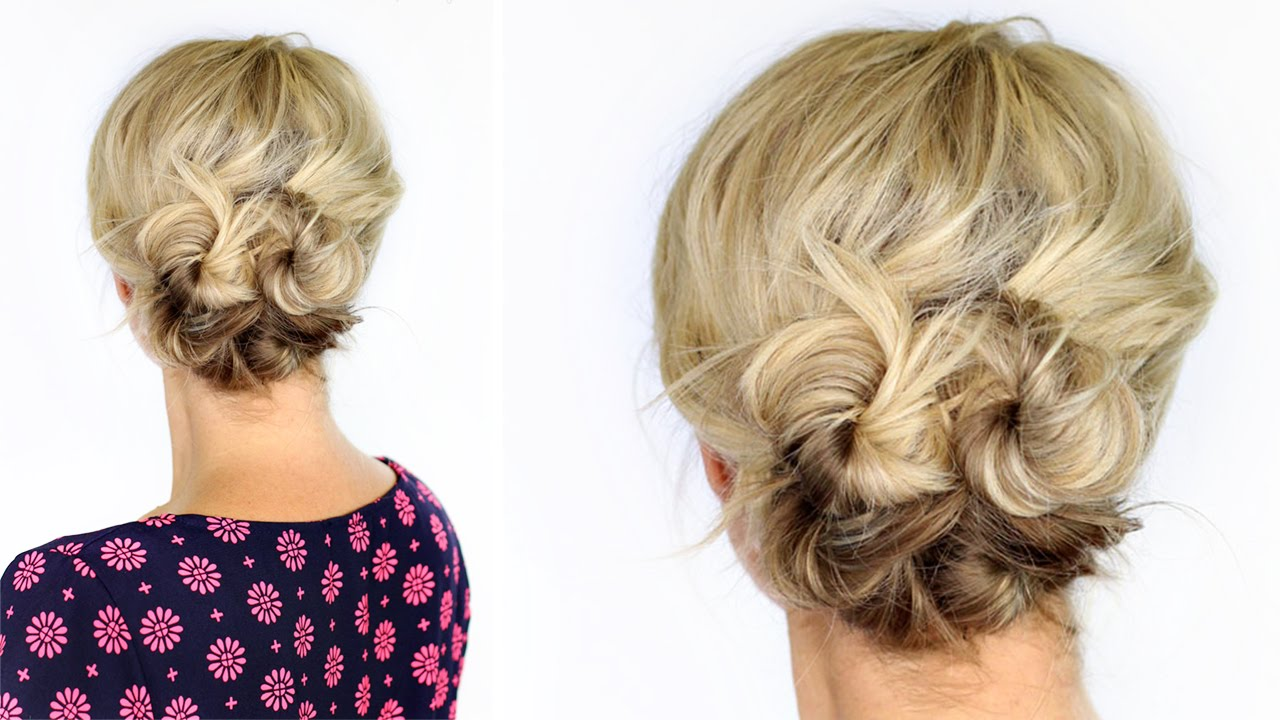 knotted updo short hair