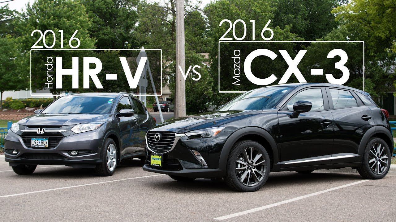 mazda cx 3 vs honda hr v 2016 model comparison driving review youtube. Black Bedroom Furniture Sets. Home Design Ideas