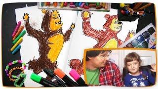 Раскарска Маша и Медведь   Как рисовать Маша и Медведь   Урок рисования для детей