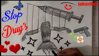 STOP BAD HABITS Drawing step by step || International Day Against Drug Abuse  ||