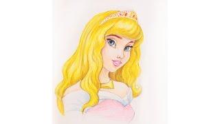Уроки рисования. Как нарисовать принцессу Аврору (Спящая красавица) how to draw Aurora