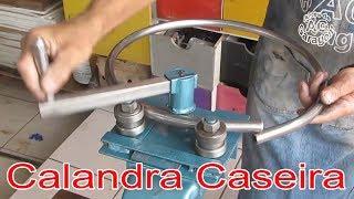 como fazer uma Calandra caseira, curvadora de tubo caseira sucata disponível, homemade roller bender