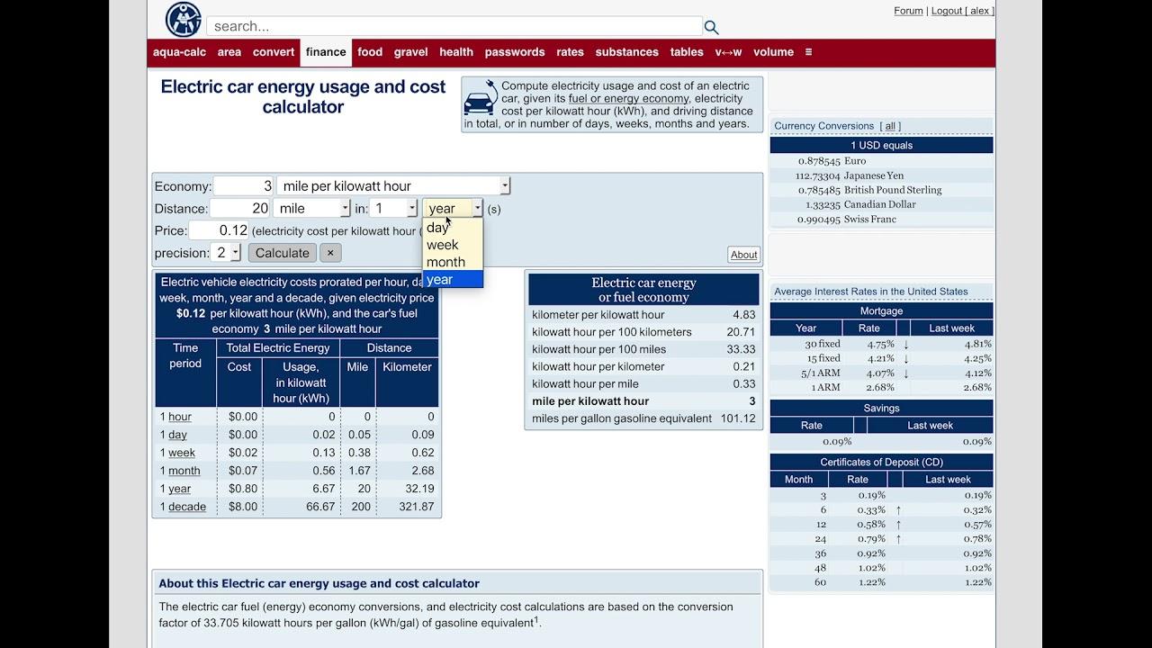 Aqua Calc Electric Car Energy Usage And Cost Calculator