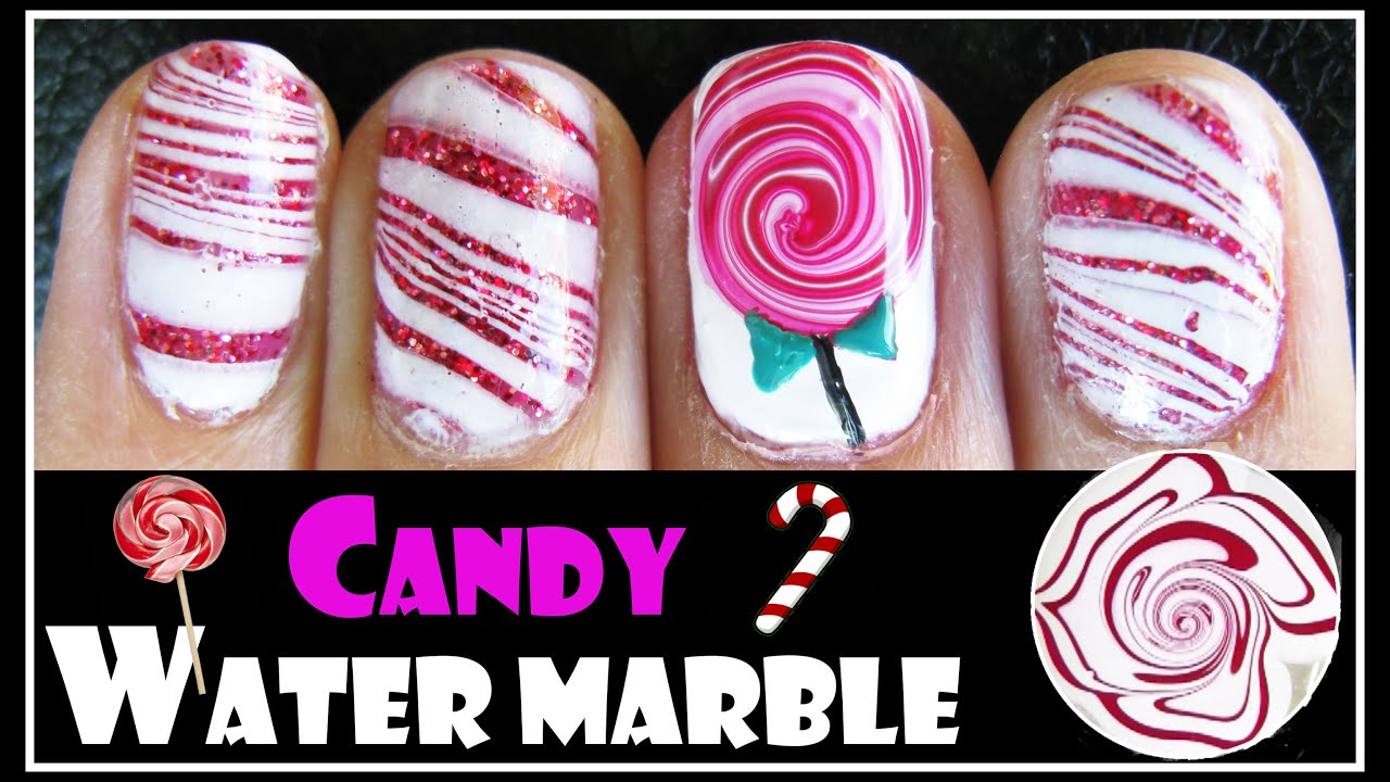Water marble tutorial valentines day candy cane lollipop nail art water marble tutorial valentines day candy cane lollipop nail art design short how to video youtube prinsesfo Image collections