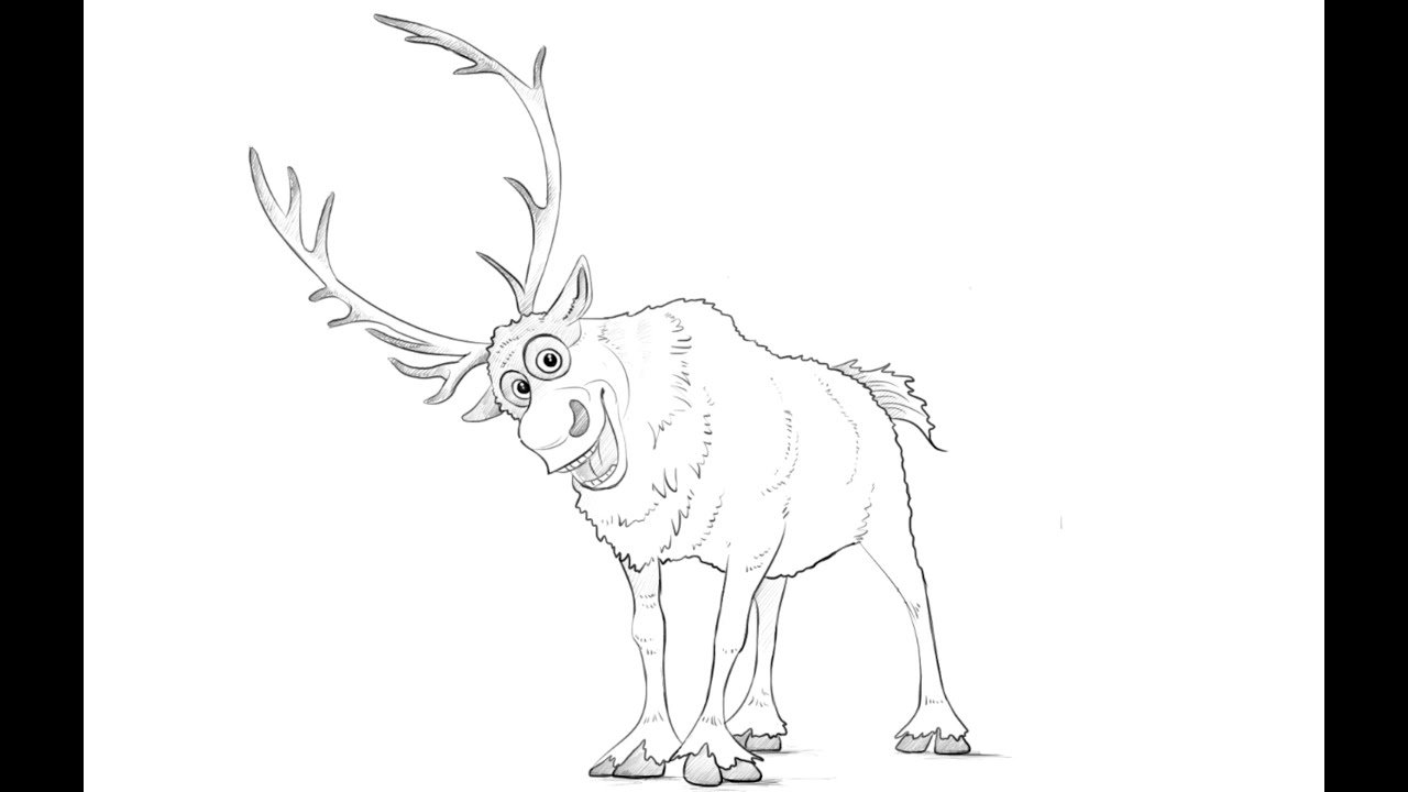 how to draw sven deer from frozen youtube