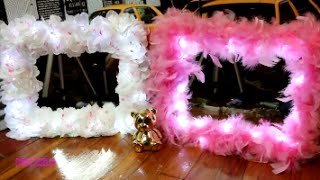 How to: DIY $10 Vanity Mirror with Lights Flowers/Feathers Dollar Tree