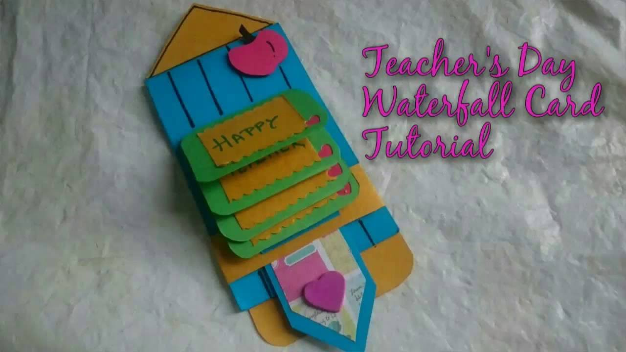 Diy teacher   day waterfall card making idea how to craftlas youtube also rh
