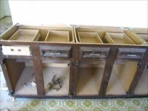 How To Remove Old Kitchen Cabinets - YouTube