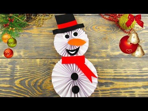 DIY Снеговик из бумаги своими руками. Новогодние Поделки, Украшения в Школу, Садик