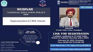 WEBINAR ON NATIONAL EDUCATION POLICY 2020