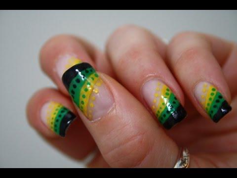 Jamaican Style Tutorial Nail Art