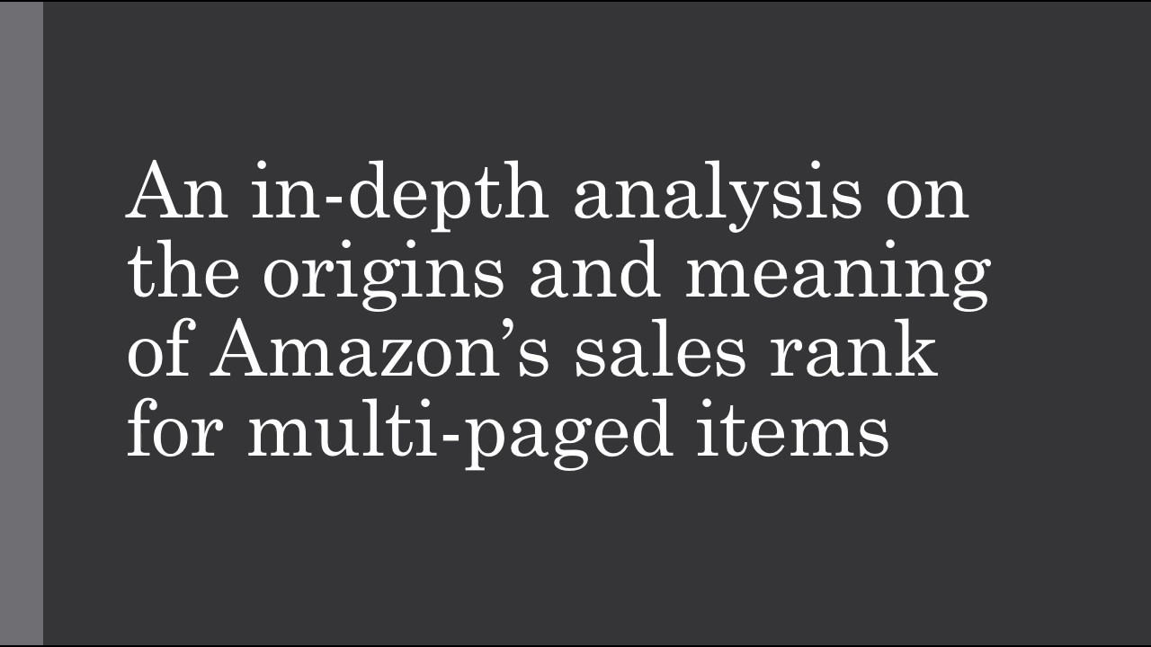 what is amazon sales rank means