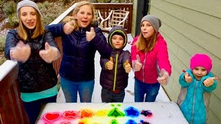 Learn English Colors! Rainbow Snow Shapes with Sign Post Kids!