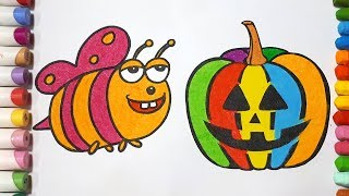 Pumpkin and Bee    Coloring Page For Kids