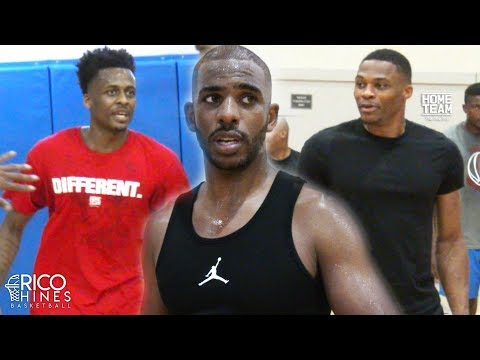 Chris Paul, Russell Westbrook, Antonio Blakeney at Rico Hines UCLA Run! Dante Exum, Bobby Portis