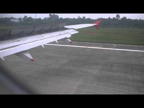 dragon air - airbus, hongkong-chengdu, landing at chengdu airport