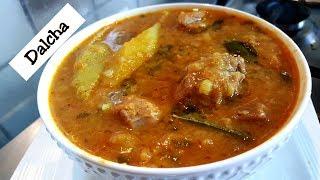 Dalcha Recipe - Dal (pulses) cooked with Mutton - Kaddu Mutton Dalcha Recipe