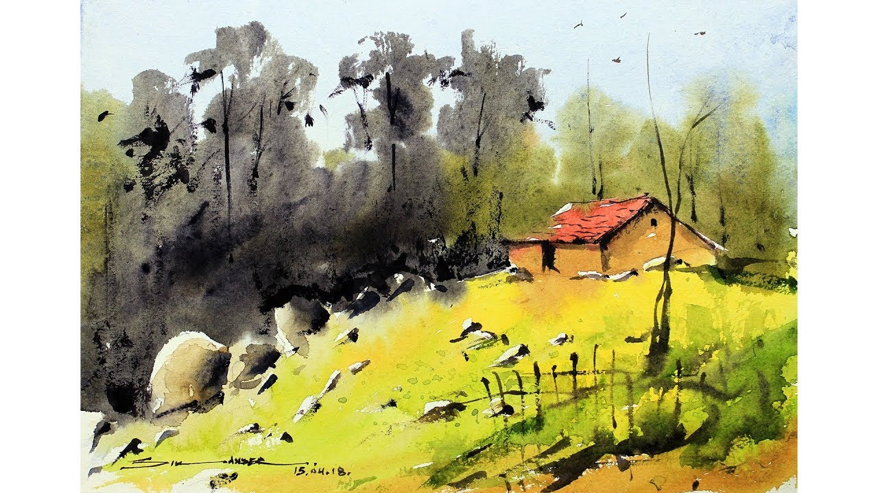 Simple Landscape Painting For Beginners
