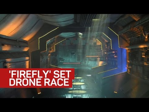 Micro drones race through a former 'Firefly' spaceship