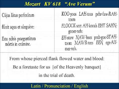 Mozart - KV618 - Ave Verum Corpus - Pronunciation
