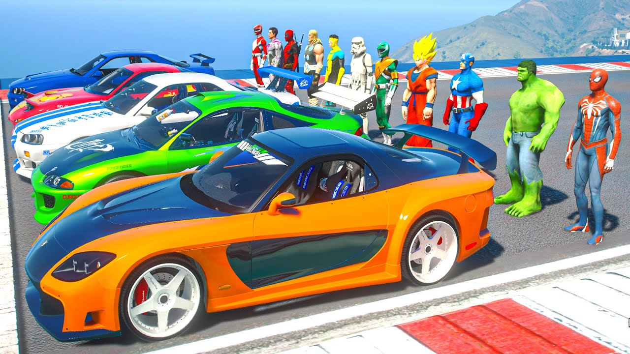SPIDERMAN Collection Fast And Furious SuperCars Challenge Overcome Obstacles on the Sea Ramp #236