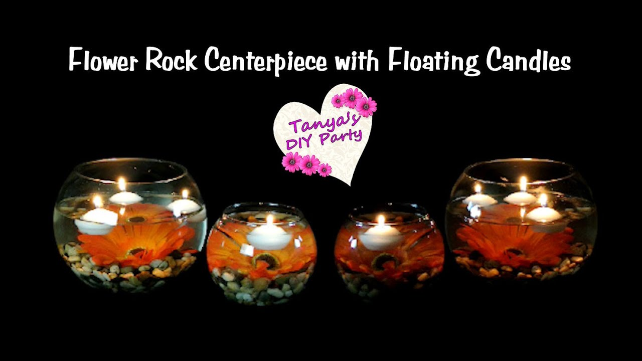 centerpiece diy flower rock centerpiece with floating candles