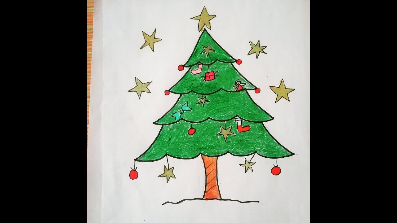 how to draw easy christmas tree