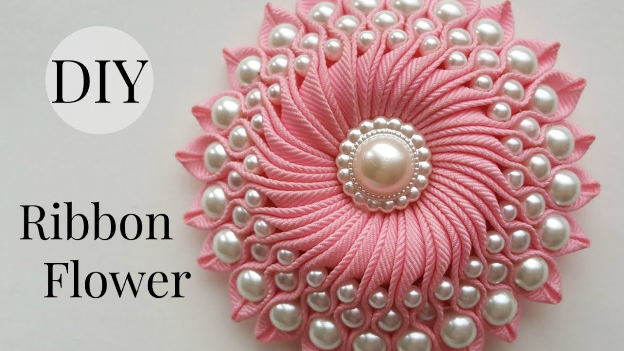 DIY Ribbon flower with beads  grosgrain flowers with beads tutorial     DIY Ribbon flower with beads  grosgrain flowers with beads tutorial