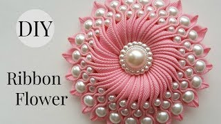 DIY Ribbon flower with beads/ grosgrain flowers with beads tutorial(Hello fellow crafters. My name is Katrina. In this video you will learn how to make twisted flower with sewn in beads. Materials you will need: 79