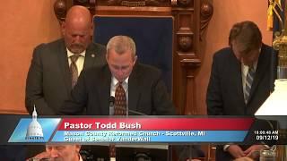 Sen. VanderWall welcomes Pastor Todd Bush to the Michigan Senate