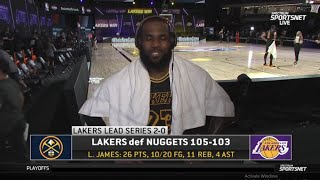 "LeBron James ""Anthony Davis is my best teammate"" Los Angeles Lakers def. Denver Nuggets Game 2"