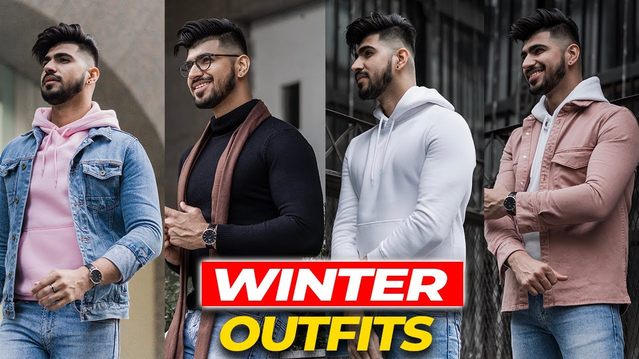 Download 4 Best Winter Outfits for Indian Men   Winter lookbook   Winter Outfits   Pink for Men   Best hoodie