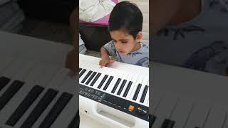 Cute little kid playing happy birthday song on keyboard. #kids #twinbrother #cuties