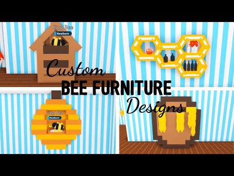 4 Custom BEE furniture Design Ideas & Building Hacks (Adopt me Roblox) Beehive, Honeycomb