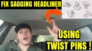 How to Fix Sagging Roof In Car Using Twist Pins -- VERY EASY FAST & CHEAP NO GLUE
