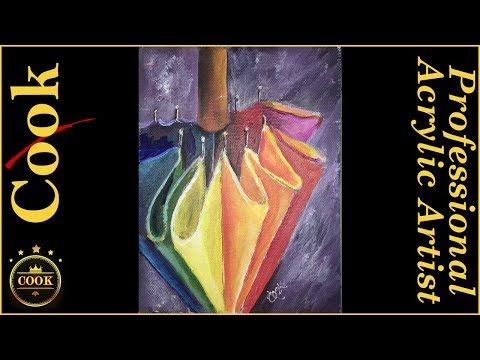 How to Paint a Rainbow Umbrella for the Beginner Acrylic Artist