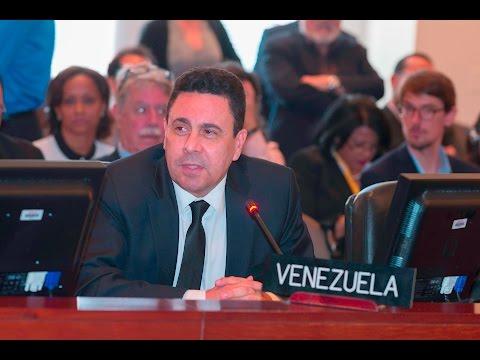 Samuel Moncada y otros embajadores defendiendo a Venezuela en OEA este 28 marzo 2017