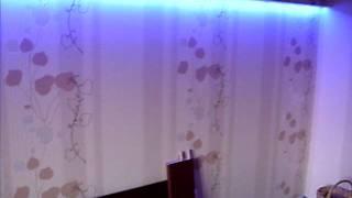 Светодиодная лента в гипсокартоновом коробе на стене