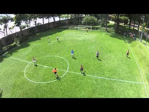 Soccer match filmed by a drone