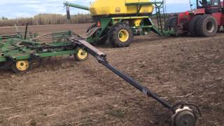 Planting barley with the 730 john deer air seeder 1900 cart