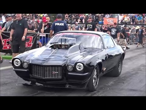 Street Outlaws Monza split bumper Camaro vs Tony Rizzi's diesel truck at armageddon