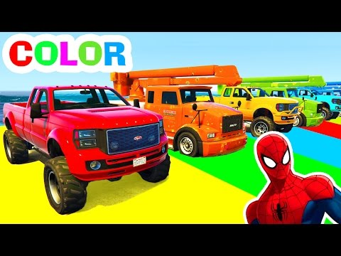 Trucks and COLOR CARS in Spiderman Cartoon Videos and Colors for Kids w Children Nursery Rhymes